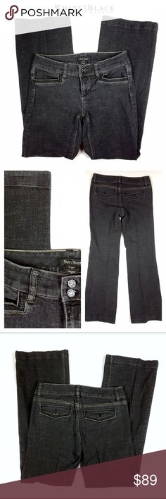 WHBM Black Trouser Fit Jeans 4R White House Black Market Black Cross-hatch wash Trouser Fit Jeans. Refined with a pieced waistband and polished black buttons, these trouser style jeans work well in the office when paired with heels. Tab-and-button details on the back pockets add a bit of haberdashery charm.  Trouser leg.  Crafted from soft, supple denim with plenty of stretch for a comfortable fit.  77% cotton, 22% polyester, 1% spandex. (Stock photo shows fit, but different wash). White…