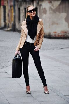 Fall outfit black pants white top tan leather jacket scarf sleek pulled-back hair heels