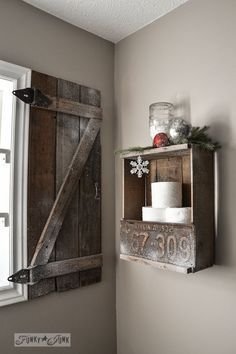 How to build your own barn wood shutter via http://www.funkyjunkinteriors.net/