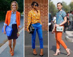 Estilo Meu - Consultoria de Imagem. Looks com combinação de cor complementar: laranja e azul:
