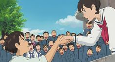"""the last film by studio ghibli """"from up on Poppy Hill"""" I think this scene was my favorite. Watching it with the Japanese international students was so much fun. Hayao Miyazaki, Studio Ghibli Films, Art Studio Ghibli, Totoro, Personajes Studio Ghibli, Up On Poppy Hill, Film Anime, Anime Art, Japon Illustration"""