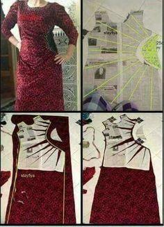 Nice neckline and drap dress Skirt Patterns Sewing, Clothing Patterns, Kebaya Modern Dress, Pattern Draping, Wedding Dress Patterns, Modelista, Street Style Edgy, Dress Images, Abaya Fashion