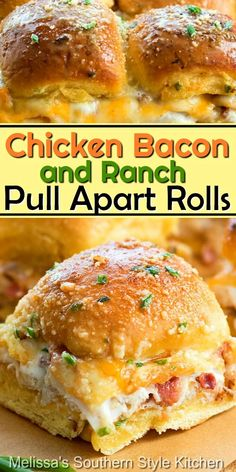 Enjoy these insanely delicious Chicken Bacon Ranch Pull Apart Rolls as an appetizer, casual meal and snacking #chickenbaconranchrolls #chicken #chickenbaconranchpullapartrolls #pullapartrolls #breadrecipes #rolls #easychickenrecipes #appetizers #dinner #dinnerideas #bacon #ranchdressing Mini Sandwiches, Dinner Sandwiches, Snack Recipes, Cooking Recipes, Jam Recipes, Recipes With Bacon Dinner, Best Food Recipes, Bacon Meals, Best Dinner Recipes Ever