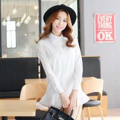 Korean Style - Long-sleeved shirt dress