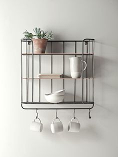 Please note this product is currently out of stock. This shelf will be returning to stock in July. Please enter your email address below to receive an instock email notification.  Store your essentials in style with our clever shelf unit. Inspired by the industrial trend, each rustic metal shelf has two solid shelves with copper edge detail and one bottom mesh shelf, plus five hooks for hanging, making it ideal for storing your mugs and dinnerware.