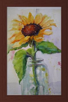 Sunflower Painting Original Watercolor Still by MaggiePainting