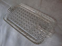 Beautiful Vintage Divided Glass tray with handles by DamenArt