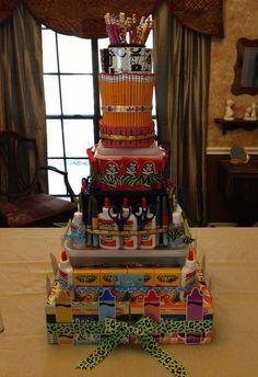 42 best teacher supply cake images in 2019 School Supplies Cake, School Supplies For Teachers, School Supplies Highschool, School Supplies Organization, Teacher Supplies, Office And School Supplies, Teacher Supply Cake, Teacher Cakes, Teacher Gifts