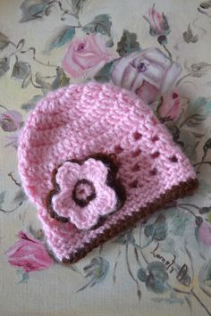 Handmade Crocheted Pink and Brown Newborn Girl by TsEclecticCorner, $7.00