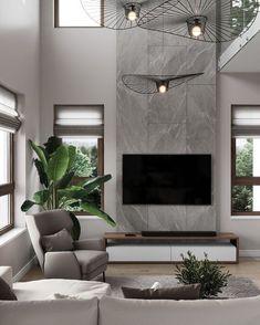 High Ceiling Living Room, Living Room Modern, Home Living Room, Interior Design Living Room, Living Room Decor, Living Room Tv Unit Designs, Home Fireplace, Fireplace Design, Luxury Home Decor