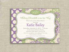 Girl Baby Shower Invitations purple   Baby Girl Shower Invitation Vintage Monogram Purple Lilac Sage Green ...