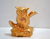 ceramic owl with wings repurposed metallic gold fall decor christmas gift modern home decor bright housewares