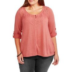 Absolutely Famous Women's Plus Babydoll Top with Lace and Crochet 3/4 Sleeve