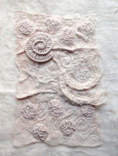 White on white with stitches, structures and felt by aventurestextiles.blogspot.se