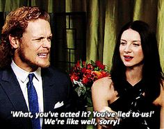 "outlander-starz: "" ""Sam + Cait reveal their relationship status"" "" There it is"