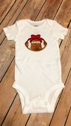 Bow Football Infant  Baby Onesie Toddler by CountryHeartDesignz