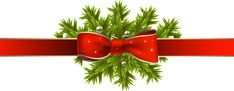 Red Christmas Ribbon with Pine Branches PNG Clipart Image