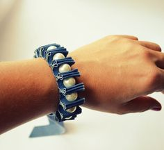 Denim and Pearls!! Twillypop Denim Darcie Ribbon Bracelet in Denim and by twillypop,