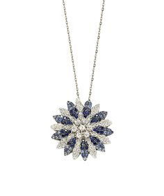 Look at this Suzy Levian Sapphire & Diamond Pavé Flower Pendant Necklace on #zulily today!