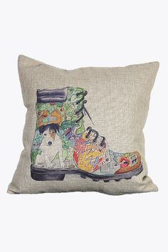 Retro Cartoon Boot Printing Pillow