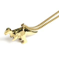 Dino Necklace, gold plated with green tourmaline, by Spanner & Wingnut