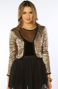 The Shining Sequin Jacket in Gold by MINKPINK