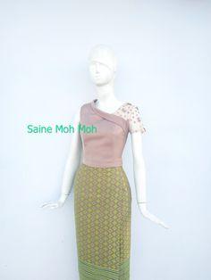 Traditional Dresses Designs, Myanmar Dress Design, Myanmar Traditional Dress, Smart Dress, Latest African Fashion Dresses, Burmese, Designer Dresses, Ballet Skirt, Two Piece Skirt Set