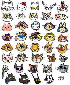 Complete, se souber...  1 - Aristocats 2 - Hello kitty 5 - Frajola 12 - Xuxu 14 - Batatinha 16 - Cheshire 18 - Manda chuva 19 - Bacana 21 - Genio 22 - Espeto 23 - Garfield 25 - Catdog 34 - Tom   36 - Bola de neve 37- Comichão 39 - Félix