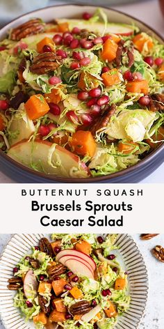 Gorgeous brussels sprouts caesar salad full of autumn flavors thanks to tender roasted butternut squash, shaved brussels sprouts, apple, pomegranate, dates, sweet & salty maple pecans and tossed in a savory vegan caesar dressing. This delicious vegetarian caesar salad makes the perfect lunch or festive side dish! #brusselssprouts #thanksgiving #saladrecipe #vegetarian #butternutsquash #CookingFood Sprouts Salad, Brussel Sprout Salad, Brussels Sprouts, Shaved Brussel Sprouts, Caesar Salat, Insalata Caesar, Vegetarian Recipes, Healthy Recipes, Salad Recipes Vegan