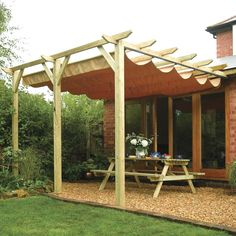 These free pergola plans will help you build that much needed structure in your backyard to give you shade, cover your hot tub, or simply define an outdoor space into something special. Building a pergola can be a simple to… Continue Reading → Diy Pergola, Pergola Retractable, Store Pergola, Building A Pergola, Backyard Canopy, Garden Canopy, Diy Canopy, Pergola Canopy, Pergola With Roof