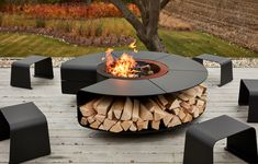 Our multifunctional outdoor design Rocco in full autumn glory! Modern Outdoor Fireplace, Outdoor Fireplace Designs, Outdoor Fireplaces, Outdoor Living, Garden Fire Pit, Fire Pit Backyard, Fire Pit Near Pool, Outdoor Fire Pits, Fire Pit Designs