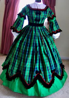 1800s Victorian Day Dress 1860s Civil War Gown also with Ballgown Bodice - Sheer White Blouse Double Skirt - Green Blue Red Plaid Taffeta