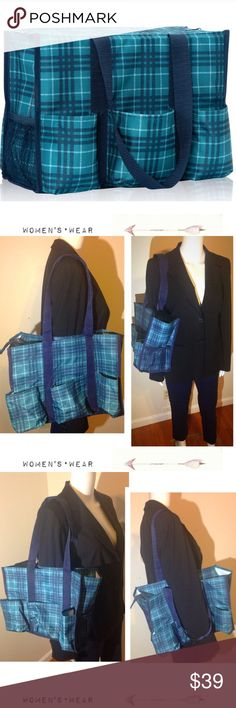 "🌿Thirty One - •• Zip-Top Utility Tote Bag Plaid NEW without Tags🌿Preppy•Pop• Zip-Top Utility Tote Bag Plaid by Thirty One. Popular Green Plaid. Seven Pockets, Organizing Tote Bag. 10.75"" H x 14.6"" L x 6.5"" D- Great for Spring and Summer Time! Super cute and girly! Thirty One Bags Totes"
