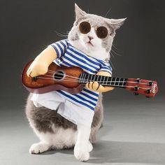 Funny Pet Guitarist Dog Costume Party Xmas Halloween New Year Option 1 : Package: 1 pc x Guitar Suit Option 2 : Package: 1 pc x Guitar Suit, 1 pc x Wig Opti Cute Cats, Funny Cats, Funny Animals, Halloween 3, Hilario, Pet Costumes, Dog Coats, Dog Shirt, Pet Portraits