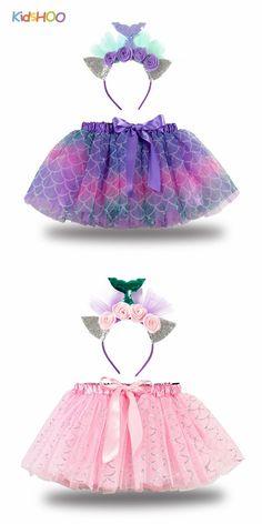 Toddler Girls Bowknot Mermaid Tutu Skirt with Flowers Headband