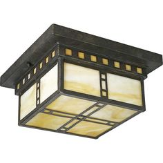 Inspired by the earthy palette and geometric shapes of Frank Lloyd Wright's work, the Arts & Craft two-light close-to-ceiling bears the name of the genre it so aptly represents. Finished in Weathered Bronze with Honey Art glass.  $89.29