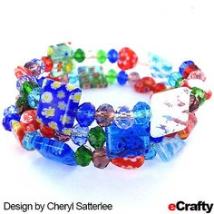 EASY MILLEFIORI BRACELET TUTORIAL Cheryl whipped up this easy #millefiori and #crystal glass #bead #memory-wire bracelet with beads from eCrafty.com.  So elegant.  Memory wire is so versatile, especially for bracelets.  For easy instructions, a 20% instant savings #coupon, and clickable supplies list read on! #millefiori #crystal #diybracelet #diycrafts #diyjewelryl #etsy #handmade #beads #crafts #jewelry #jewelrysupplies #jewelrydesign www.crafty.com