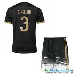 Nouveau Maillots Juventus noir Enfant CHIELLINI 3 Third 15 2016 2017