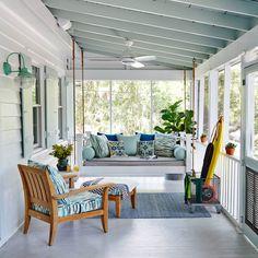 Beautiful Blue Porch - 65 Beachy Porches and Patios - Coastal Living