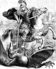 St George and the Dragon Patron Saint Of England, Rib Tattoos For Women, Saint George And The Dragon, Victorian Illustration, Pale Horse, Victorian Pictures, Orthodox Icons, Classic Image, Bible Art