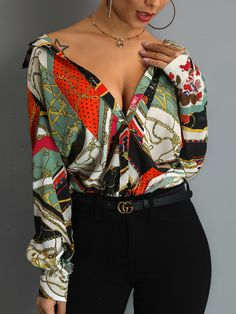 Scarf Print Long Sleeve Casual Shirt (S/M/L/XL) $26.99 Versace Silk Shirt, Chic Outfits, Fashion Outfits, Scarf Shirt, Blazers, Diva Fashion, Womens Fashion Online, Casual Shirts, Marie
