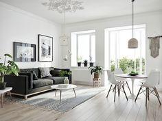 Scandinavian on Behance Modern Minimalist Living Room, Minimalist Furniture, Modern Living, Home Interior Design, Interior Decorating, Scandinavian Interior, Scandinavian Style, Cushions On Sofa, Room Inspiration