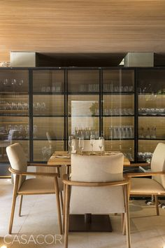 Image 20 of 29 from gallery of Tartuferia San Paolo / mf+arquitetos. Photograph by Felipe Araujo Living Room Decor, Living Spaces, Contemporary Beach House, Wine Cellar Design, Dining Room Inspiration, Bar Lounge, Kitchen Cupboards, Cabinet Design, Luxury Living