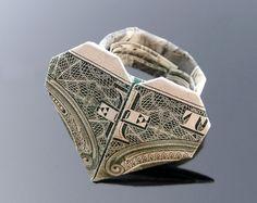 Origami money folding dollar bills tooth fairy ideas for 2019 Origami Ring, Money Origami, Origami Bookmark, Origami Folding, Useful Origami, Origami Easy, Origami Paper, Origami Boxes, Paper Folding