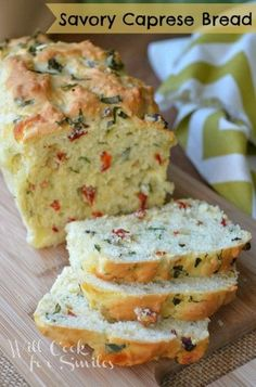 Savory Caprese Bread. It's a no-yeast, savory bread made with fresh basil, fresh mozzarella cheese and sun-dried tomatoes! from willcookforsmiles.com