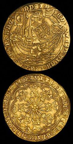 "The Gold Ryal (or Rose Noble), english gold coin first issued in during the ""first reign"" of Edward IV Bullion Coins, Gold Bullion, Psychedelic Art, Gold Money, Wars Of The Roses, Gold And Silver Coins, Antique Coins, World Coins, Rare Coins"