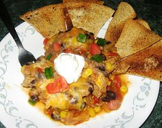 Debbi Does Dinner... Healthy & Low Calorie: La Bamba Mexican Casserole with Homemade Tortilla Chips