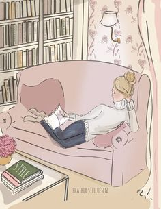 Wall Art for Women  Weekend  Reading   by RoseHillDesignStudio