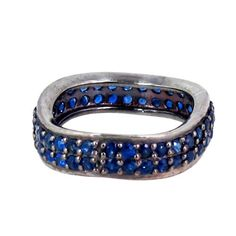 Sapphire Gemstone Studded Band Fashion Ring 925 Sterling Silver Handmade Jewelry #Handmade