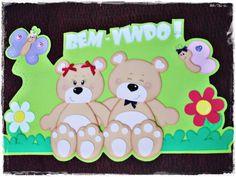 """Lindo cartaz feito em EVA para decoração da sala de aula, da entrada da escola e muitos outros lugares com o tema: """"Bem-vindo.""""  Um mimo! R$ 35,00"""